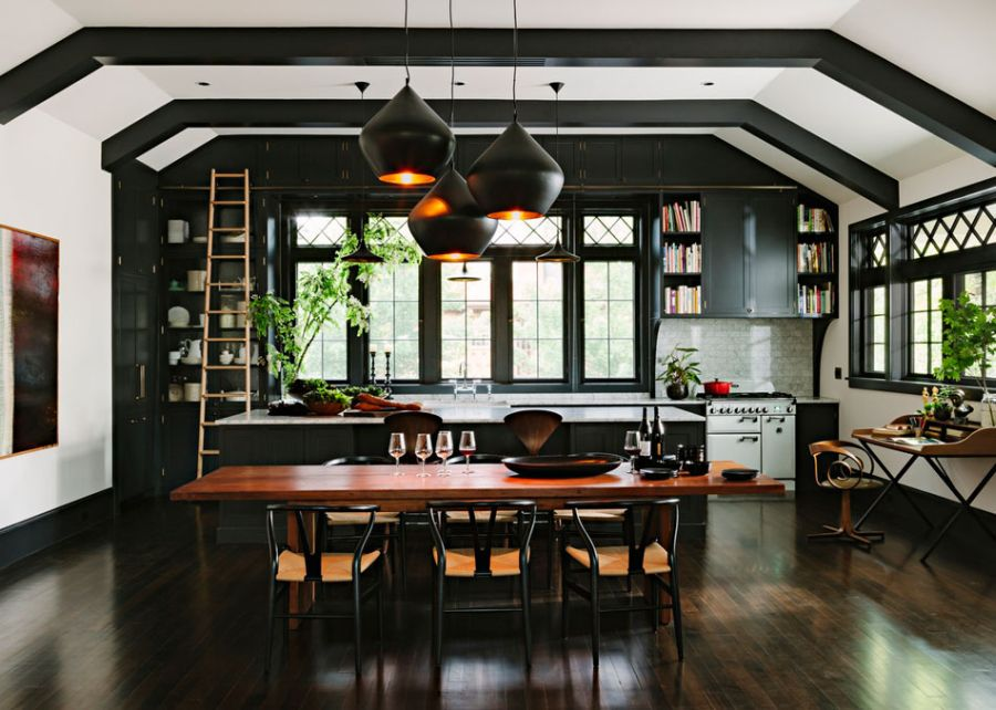 modern retro wooden cottage with black white interior in portland (3)