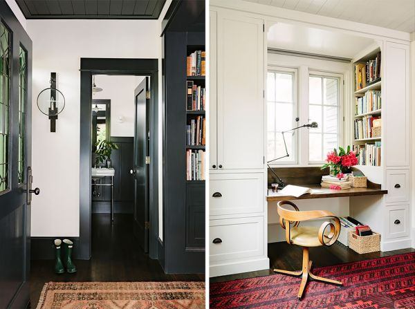 modern retro wooden cottage with black white interior in portland (8)