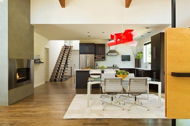 red wood modern house idea with high ceiling bright interior design (10)