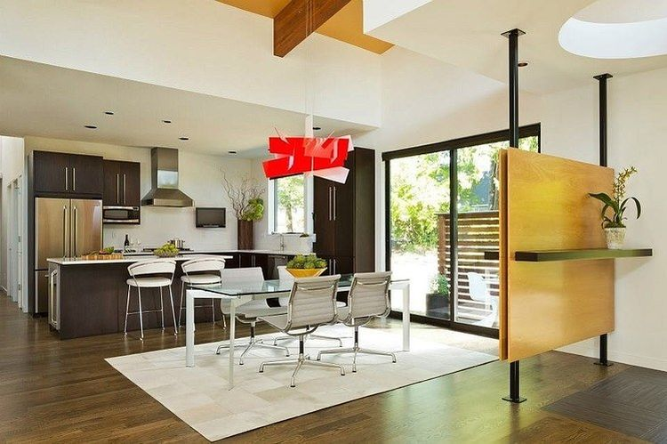 red wood modern house idea with high ceiling bright interior design (2)