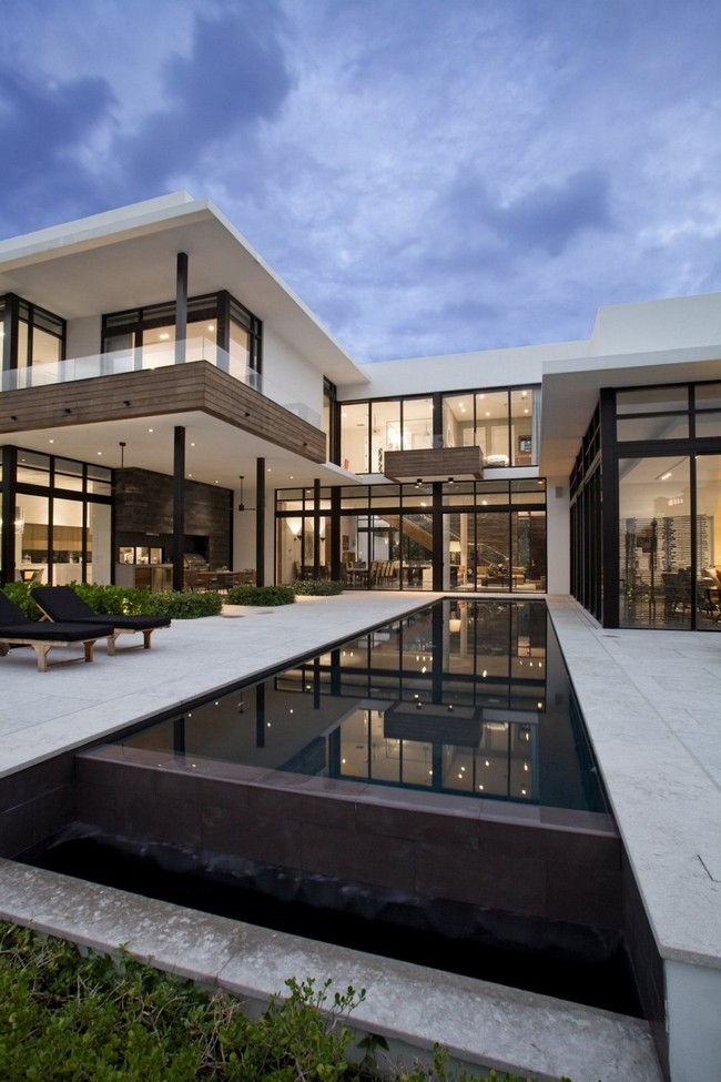 two storey modern house with pool in florida usa (14)