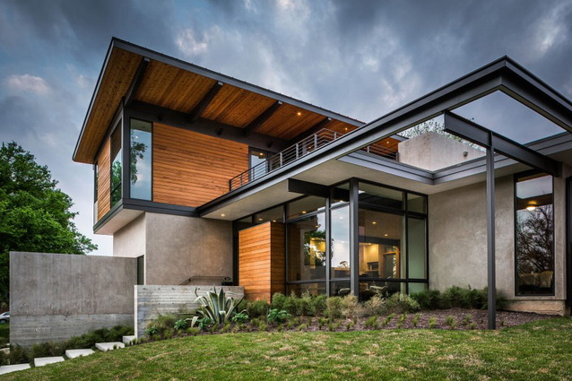 2 storey wooden and concrete modern natural house (8)