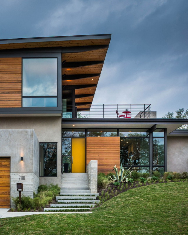 2 storey wooden and concrete modern natural house (9)