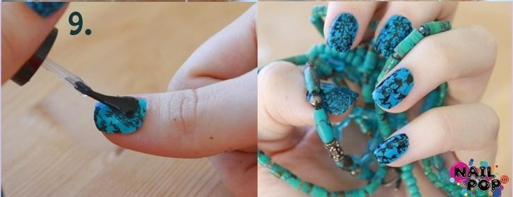 DIY-beautiful turquoise nail painting for women (3)