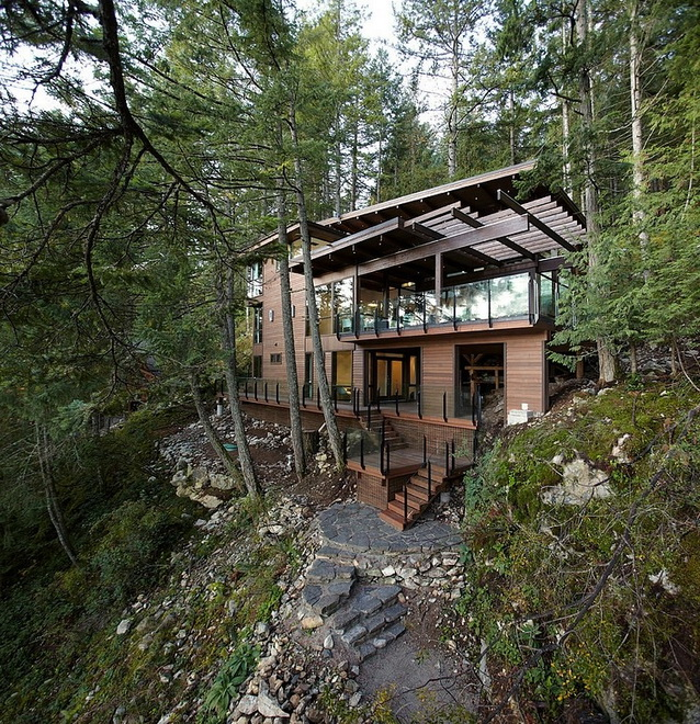 waterfront wooden house in forest (21)