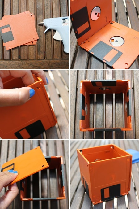 DIY flower pot from floppy disk (3)