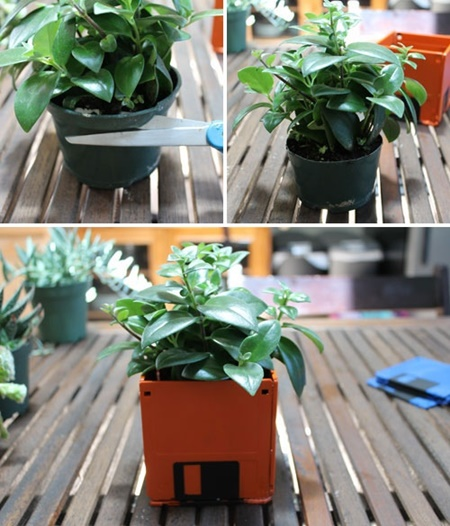 DIY flower pot from floppy disk (4)