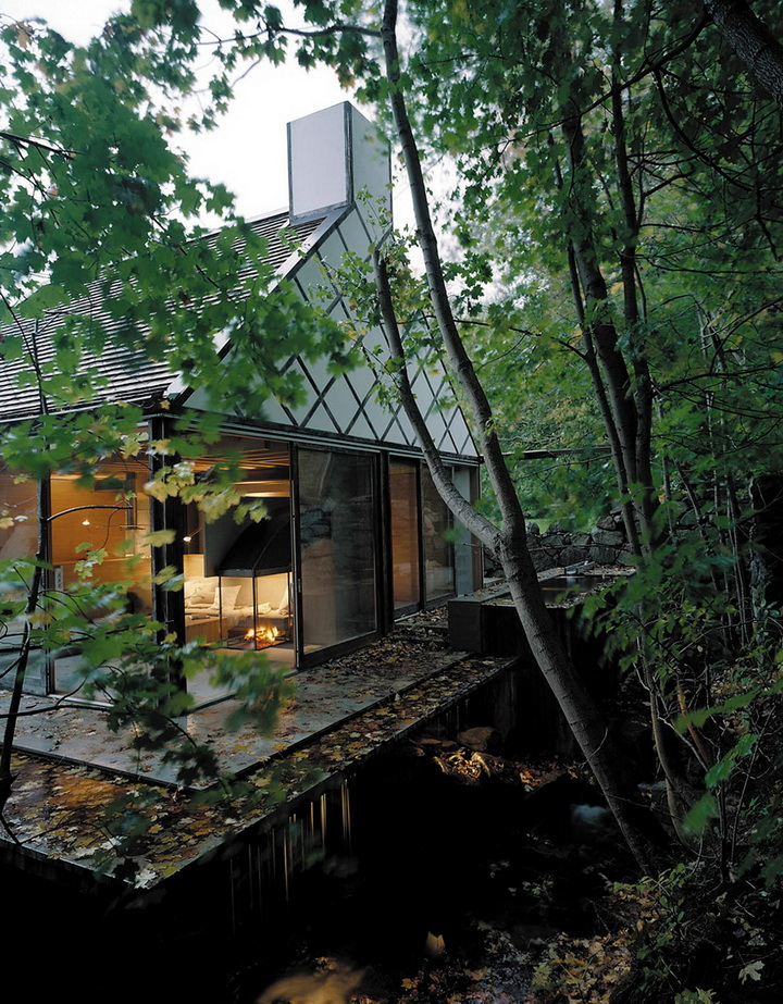 little glass house in forest (1)