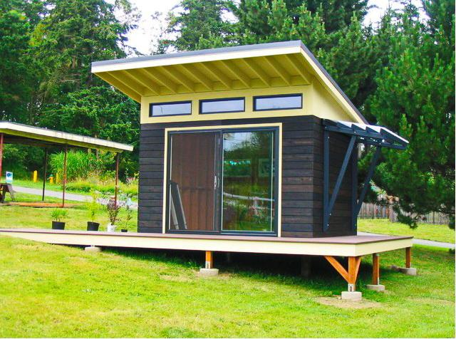modern black shed in backyard (1)
