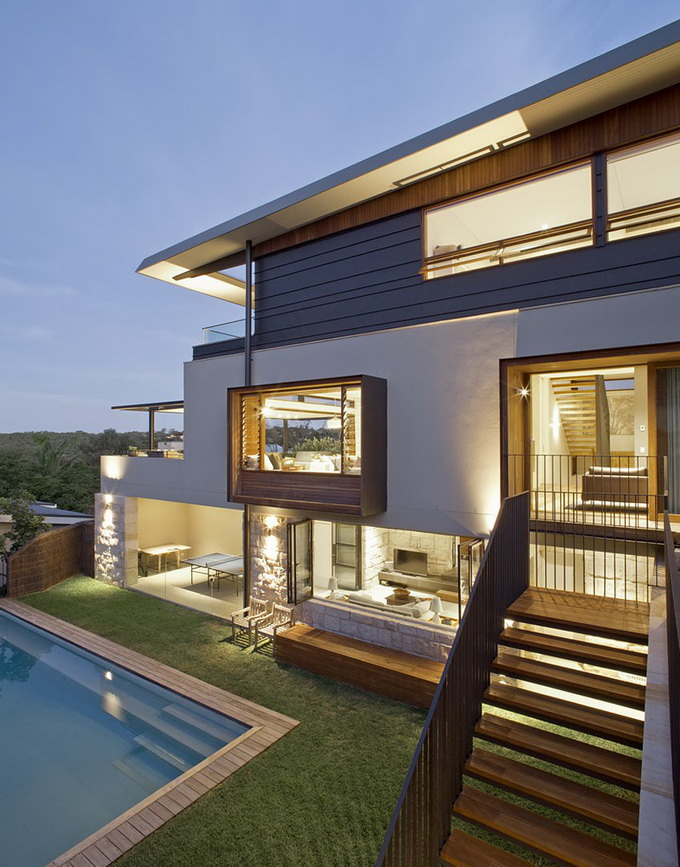 wooden interior modern villa with swimming pool (15)