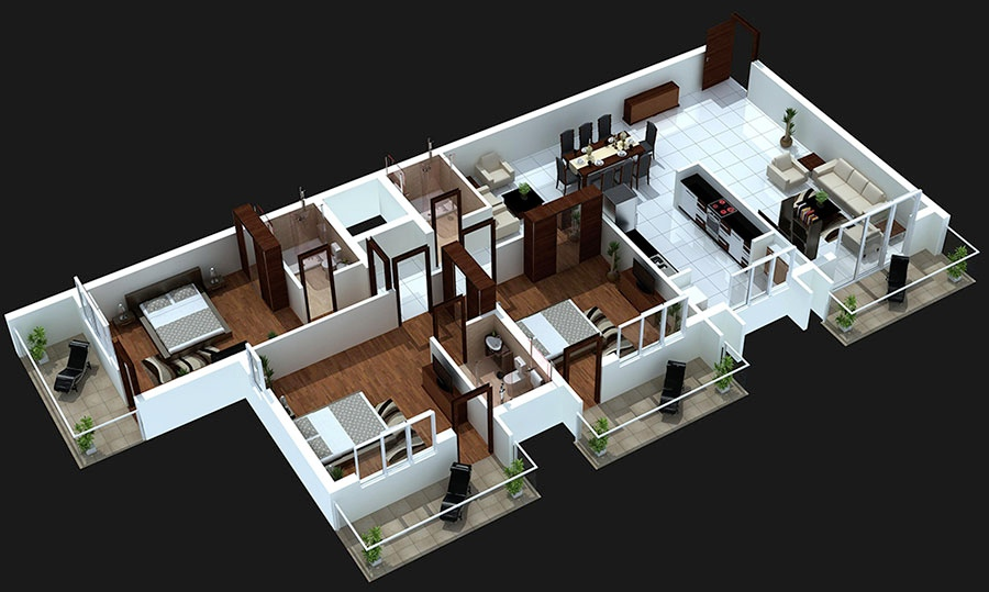 16-3-bedroom-with-balcony-house-plans