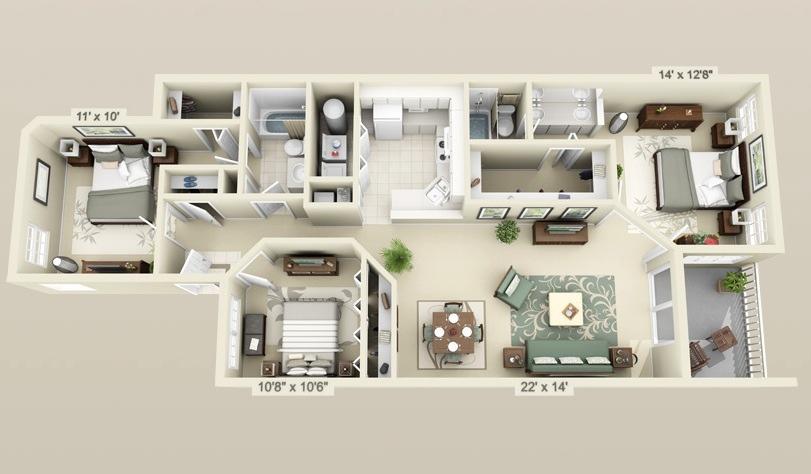 23-cool-3-bedroom-3d-plans