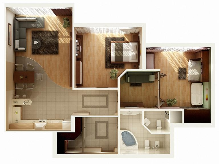 "50 Two ""2"" Bedroom ApartmentHouse Plans (10)"