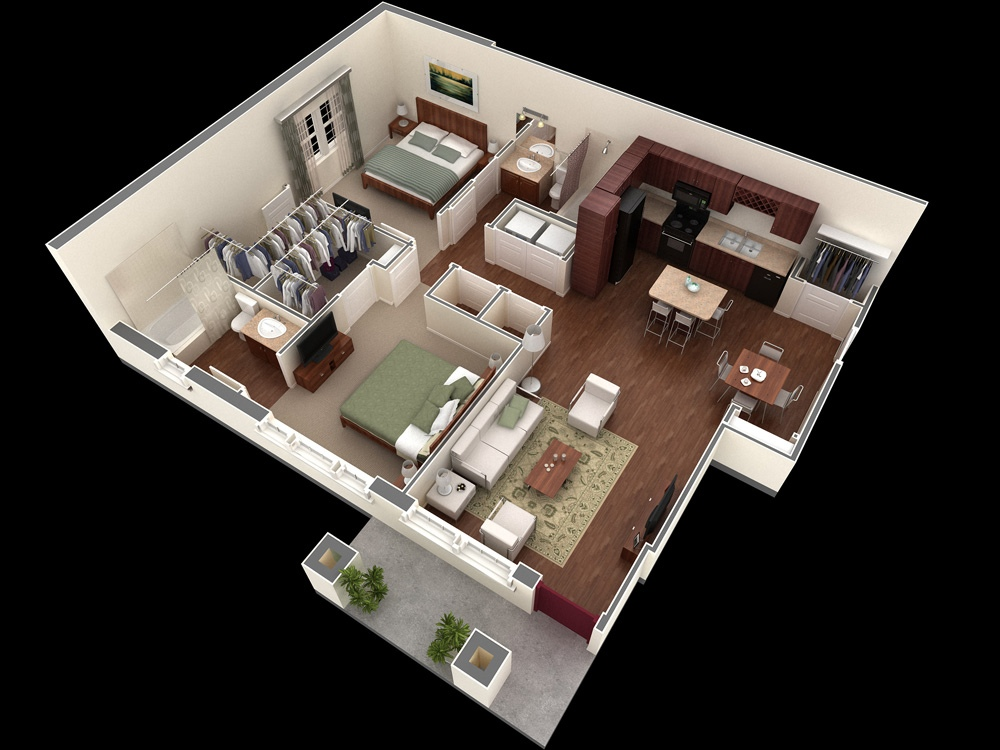 "50 Two ""2"" Bedroom ApartmentHouse Plans (11)"