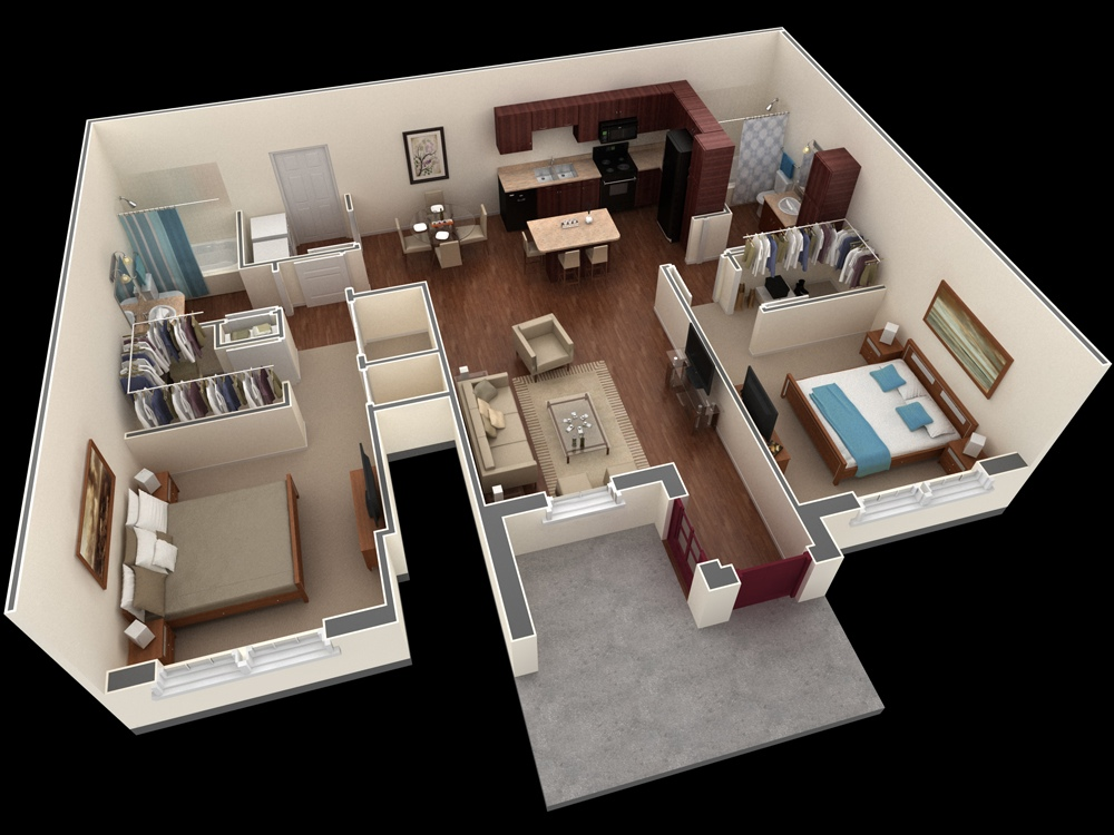 "50 Two ""2"" Bedroom ApartmentHouse Plans (12)"
