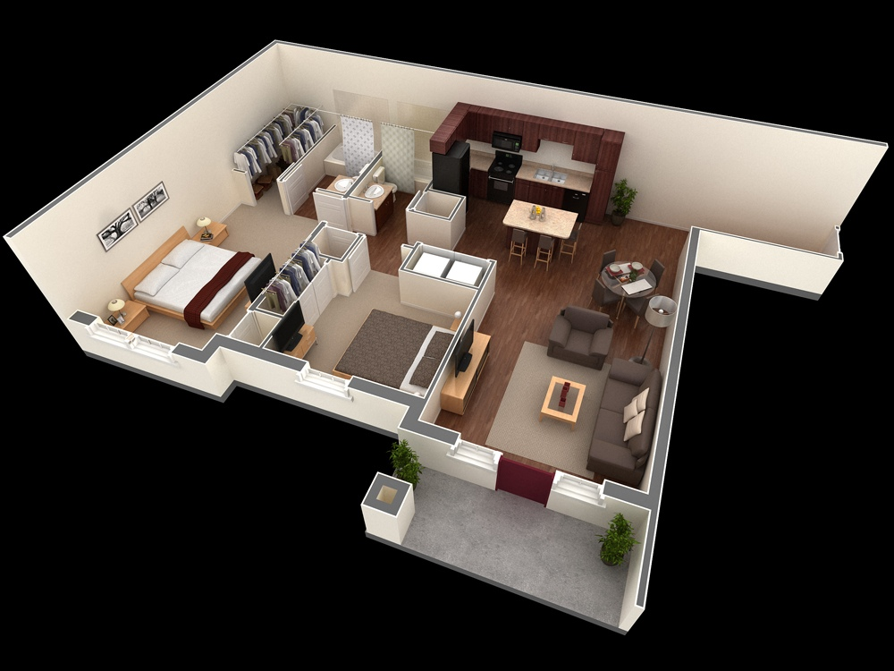 """รวม 50 แบบแปลน """"บ้าน/อพาร์ทเมนต์ขนาด 2 ห้องนอน"""" – NaiBann ..."""