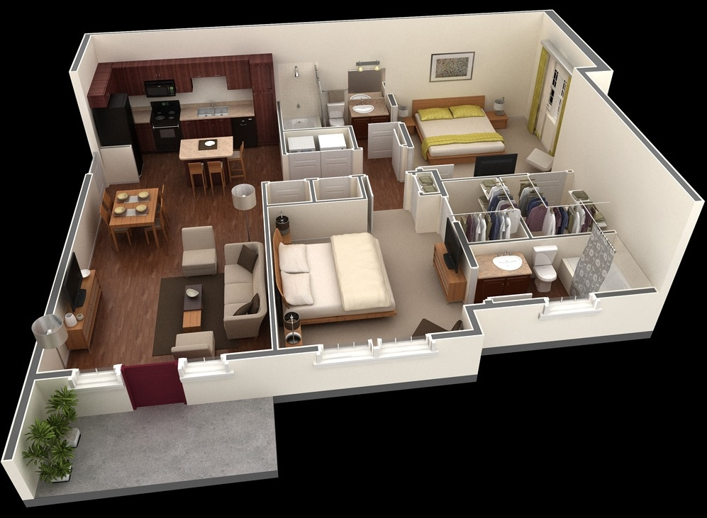 "50 Two ""2"" Bedroom ApartmentHouse Plans (14)"