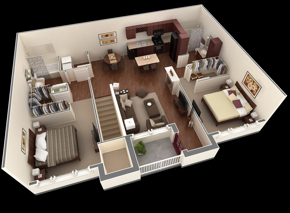 "50 Two ""2"" Bedroom ApartmentHouse Plans (15)"