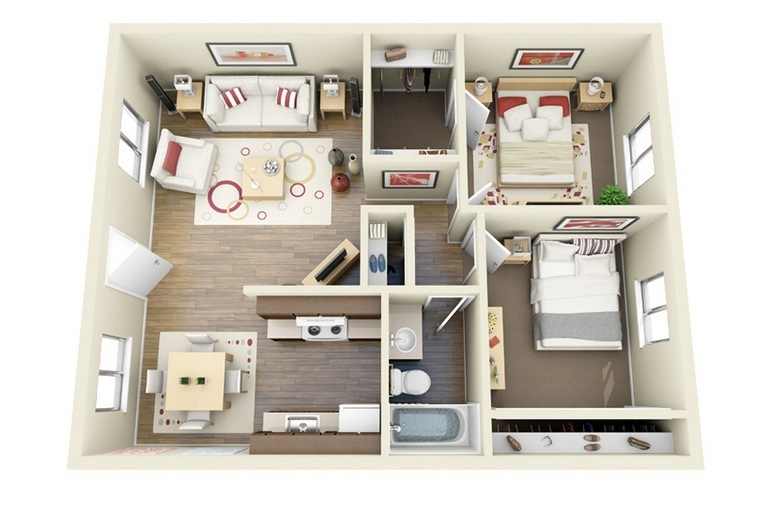 "50 Two ""2"" Bedroom ApartmentHouse Plans (16)"