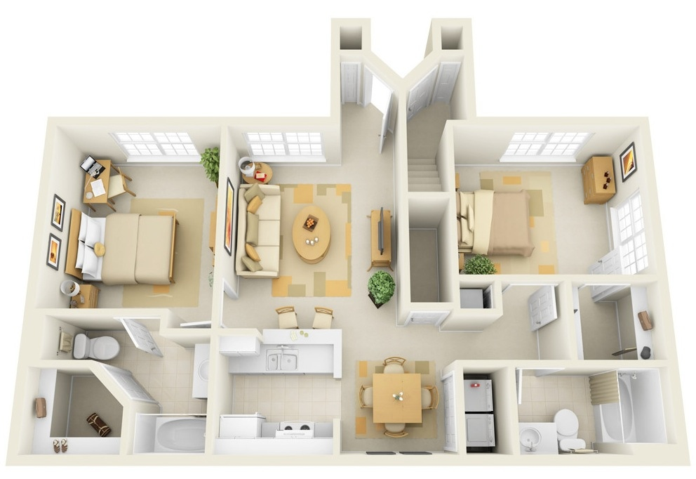 "50 Two ""2"" Bedroom ApartmentHouse Plans (17)"