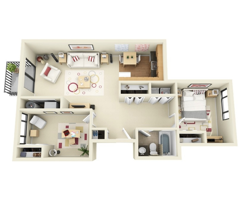 "50 Two ""2"" Bedroom ApartmentHouse Plans (18)"