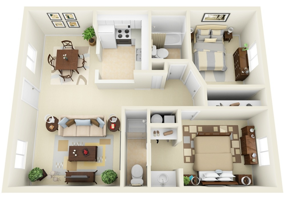 "50 Two ""2"" Bedroom ApartmentHouse Plans (19)"