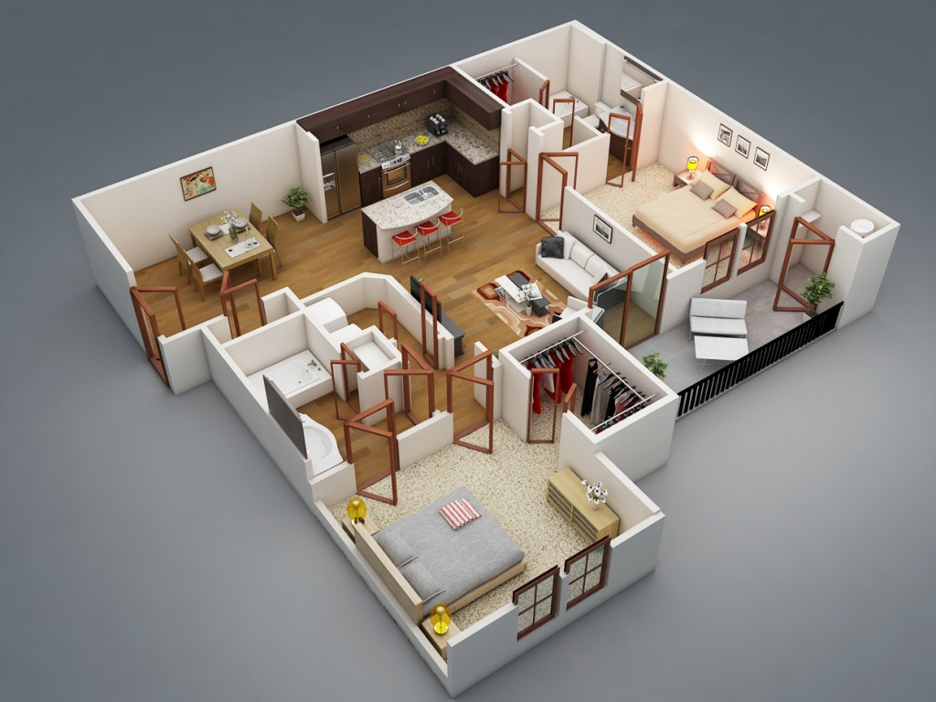 "50 Two ""2"" Bedroom ApartmentHouse Plans (2)"