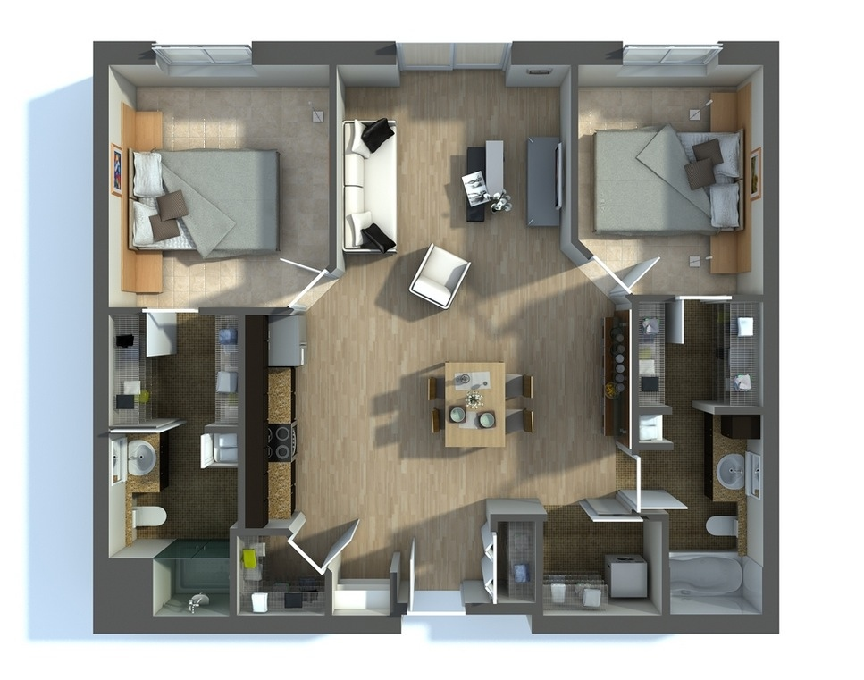 "50 Two ""2"" Bedroom ApartmentHouse Plans (21)"
