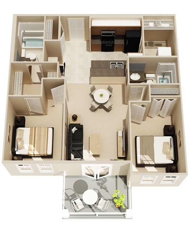 "50 Two ""2"" Bedroom ApartmentHouse Plans (22)"