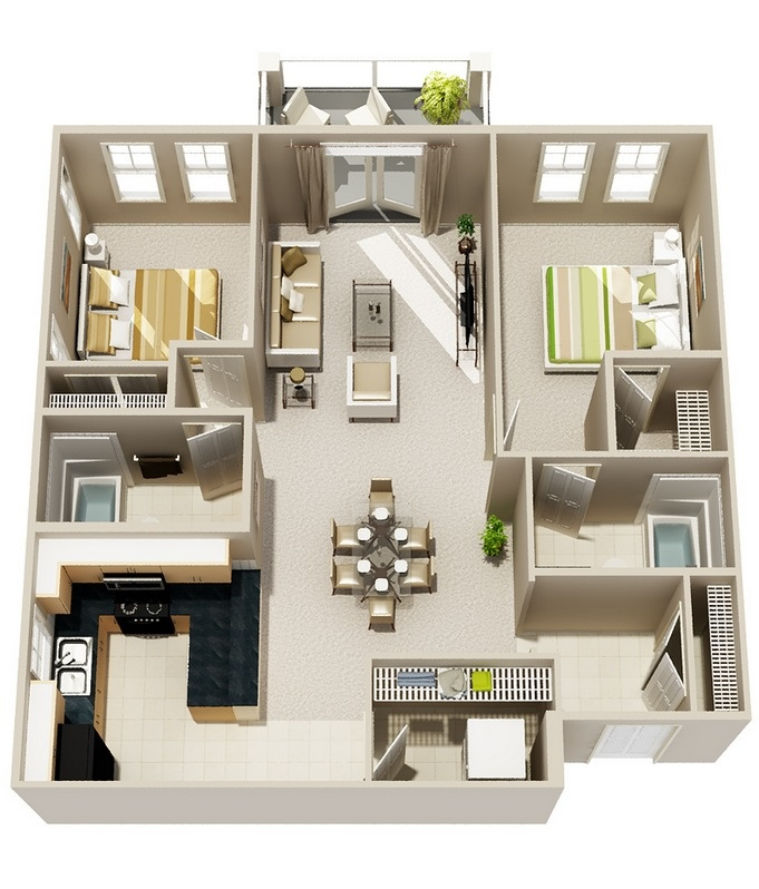 "50 Two ""2"" Bedroom ApartmentHouse Plans (23)"