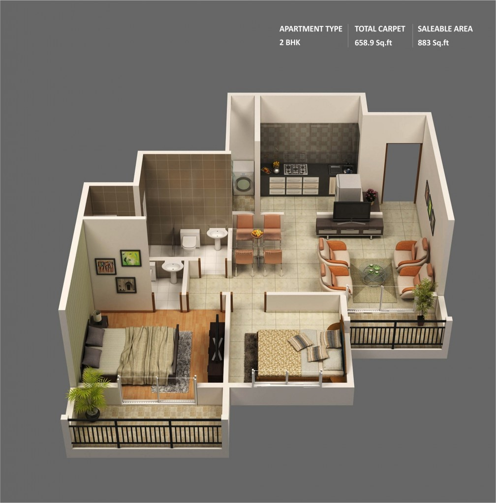 "50 Two ""2"" Bedroom ApartmentHouse Plans (24)"
