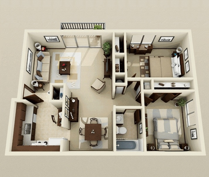 "50 Two ""2"" Bedroom ApartmentHouse Plans (25)"