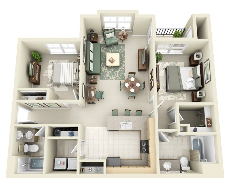 "50 Two ""2"" Bedroom ApartmentHouse Plans (26)"