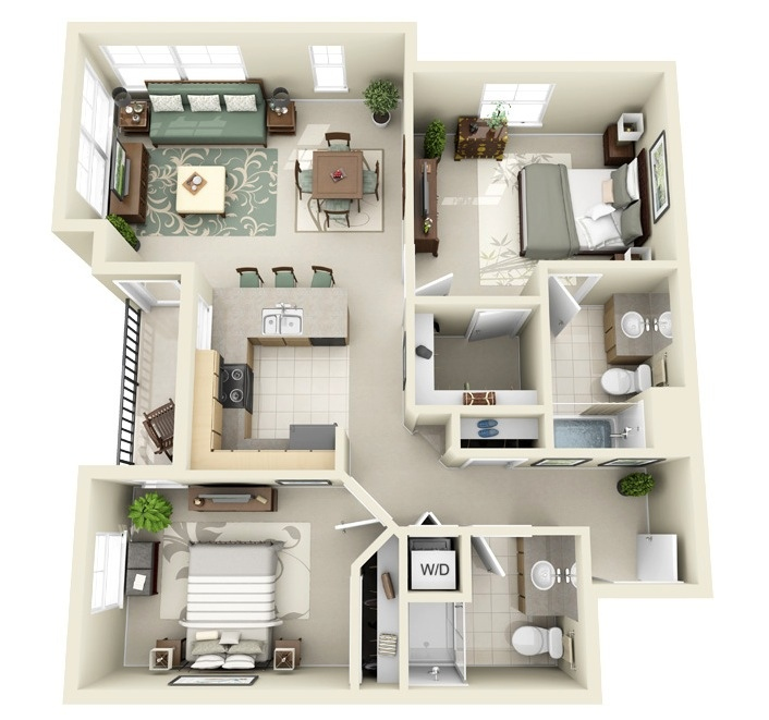 "50 Two ""2"" Bedroom ApartmentHouse Plans (27)"