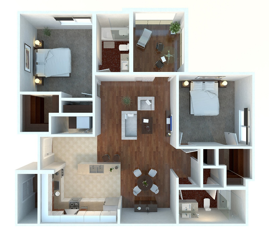 "50 Two ""2"" Bedroom ApartmentHouse Plans (29)"