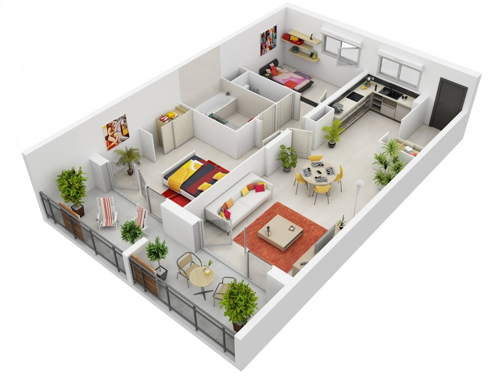 "50 Two ""2"" Bedroom ApartmentHouse Plans (3)"