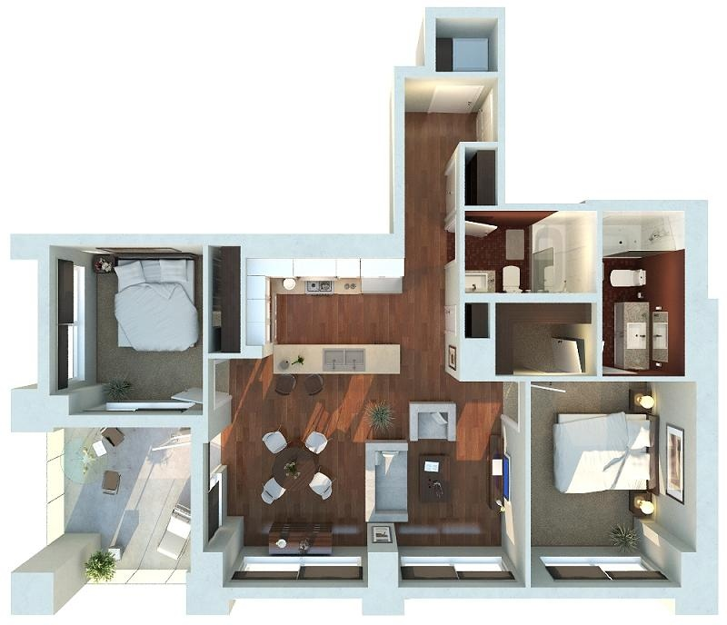 "50 Two ""2"" Bedroom ApartmentHouse Plans (30)"