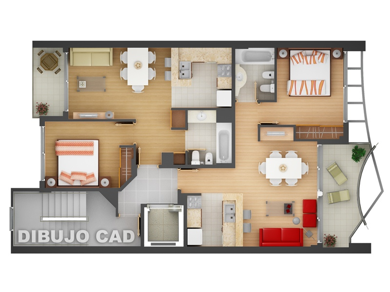 "50 Two ""2"" Bedroom ApartmentHouse Plans (31)"