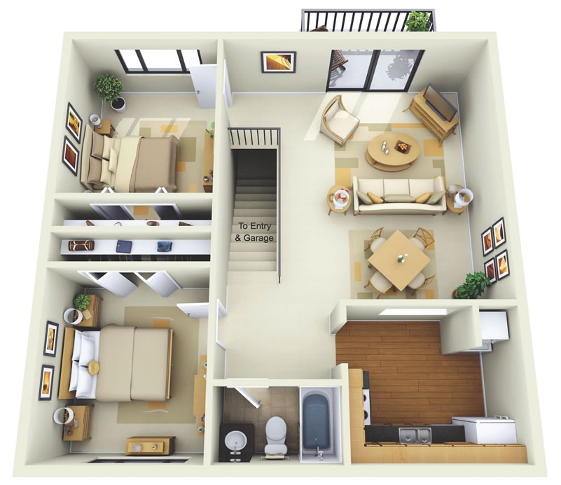 "50 Two ""2"" Bedroom ApartmentHouse Plans (35)"