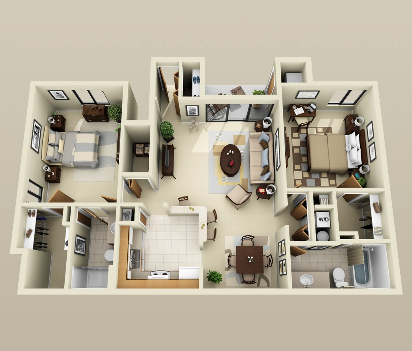 "50 Two ""2"" Bedroom ApartmentHouse Plans (36)"