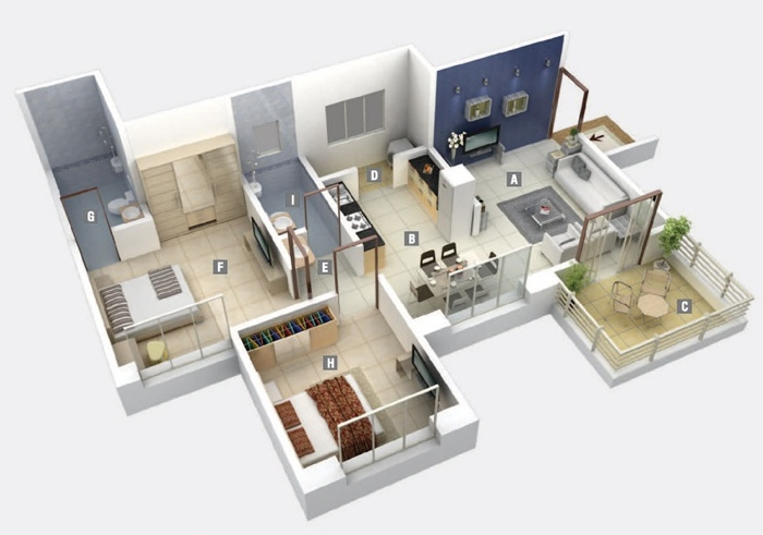 "50 Two ""2"" Bedroom ApartmentHouse Plans (37)"