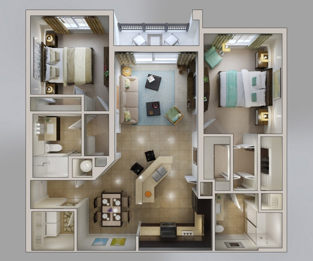 "50 Two ""2"" Bedroom ApartmentHouse Plans (38)"