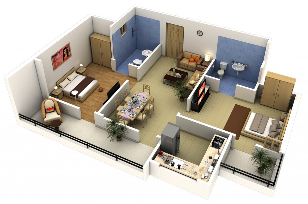 "50 Two ""2"" Bedroom ApartmentHouse Plans (39)"