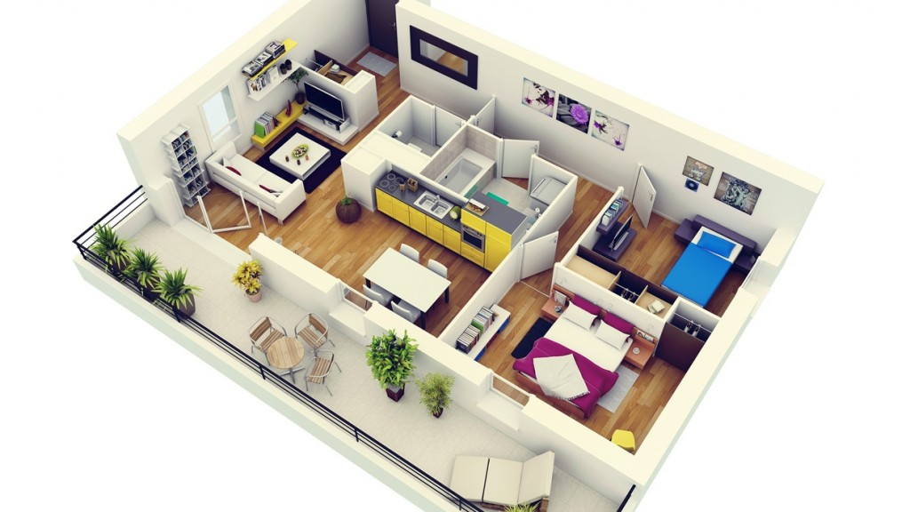 "50 Two ""2"" Bedroom ApartmentHouse Plans (4)"