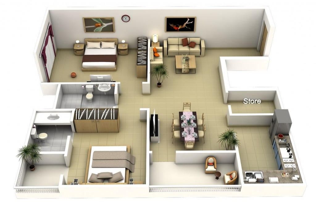 "50 Two ""2"" Bedroom ApartmentHouse Plans (40)"