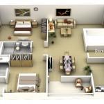 """รวม 50 แบบแปลน """"บ้าน/อพาร์ทเมนต์ขนาด 2 ห้องนอน"""""""