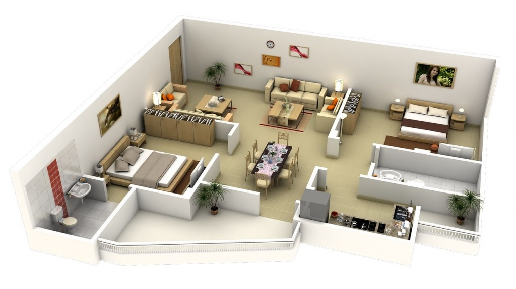 "50 Two ""2"" Bedroom ApartmentHouse Plans (41)"