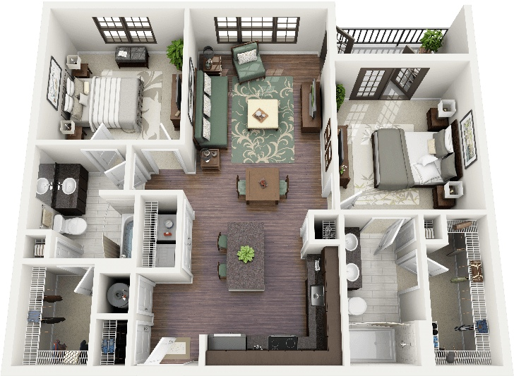 "50 Two ""2"" Bedroom ApartmentHouse Plans (42)"
