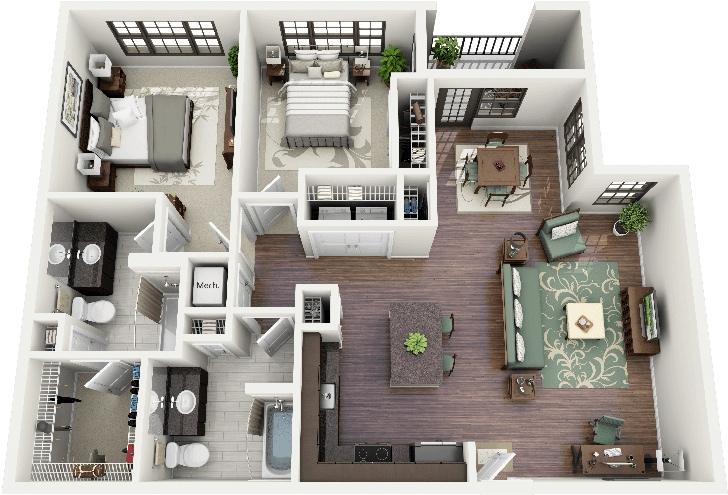 "50 Two ""2"" Bedroom ApartmentHouse Plans (43)"