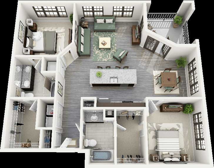 "50 Two ""2"" Bedroom ApartmentHouse Plans (44)"